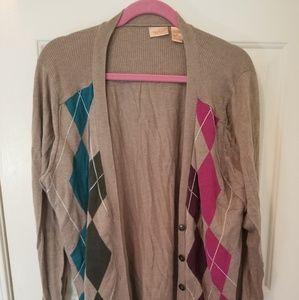 Argyle tan sweater